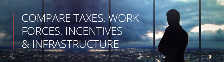 Compare taxes, work forces, incentives and infrastructure